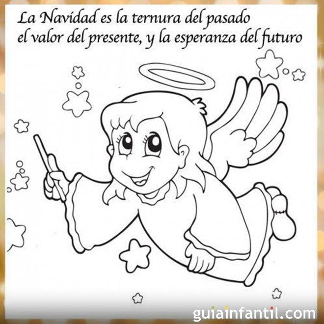 Dibujo de un ángel con una frase de Navidad para imprimir
