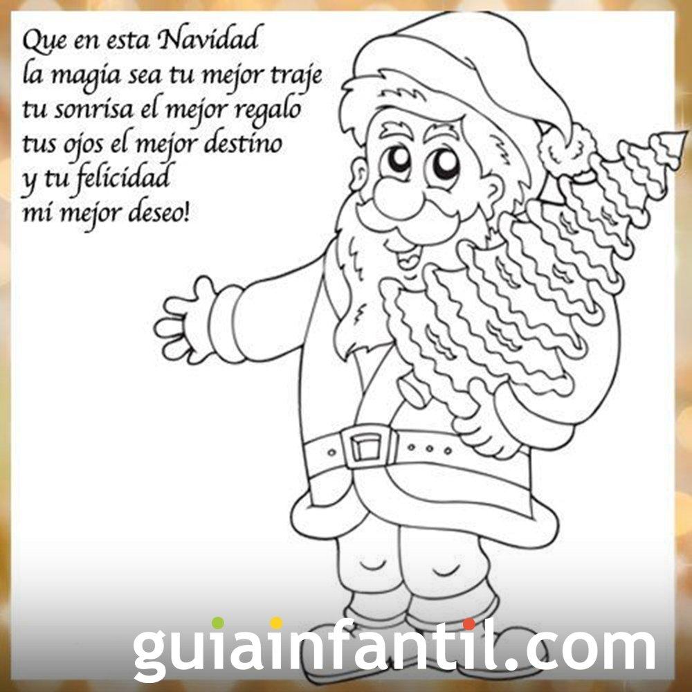 Imprimir Dibujo de Papá Noel para imprimir con frase de