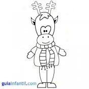 Dibujo de reno vestido para pintar