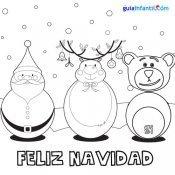 Dibujo para colorear de oso Traposo, Papá Noel y su reno