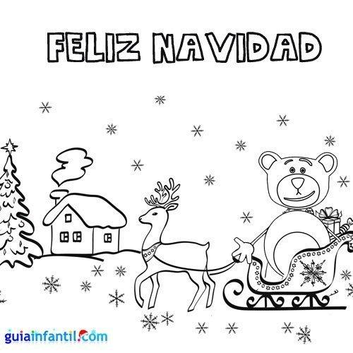 Diibujo para colorear de oso Traposo en el trineo de Papá Noel