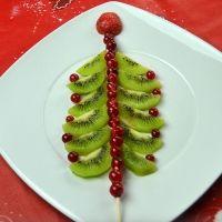 Árbol de Navidad tropical con frutas. Receta para niños
