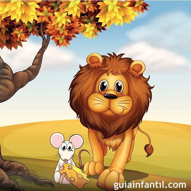 El león y el ratón. Fábula con moraleja