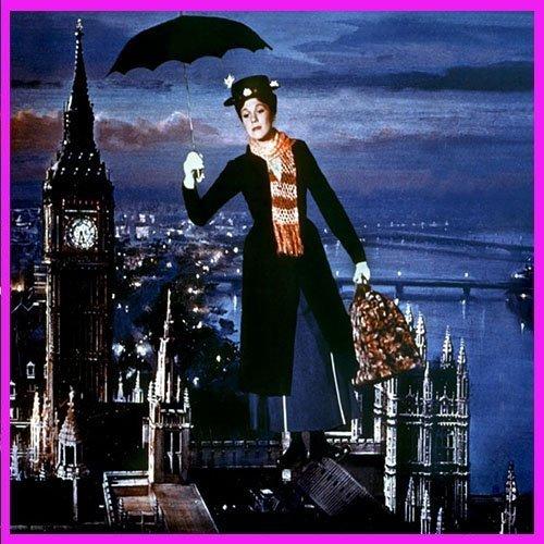 Mary Poppins surcando el cielo de Londres con su paraguas volador