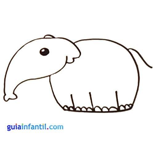 Dibujo de un elefante para niños. Animales de la selva para colorear