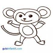 Mono para colorear con niños. Animales de la jungla para imprimir