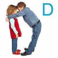 La letra D con el cuerpo de los niños