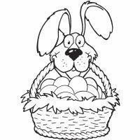 Dibujo para colorear en Pascua de una cesta de huevos