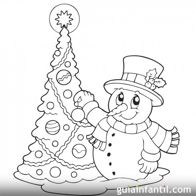 Dibujos para colorear de navidadositos y arbol de navidad - Arbol de navidad para colorear ...