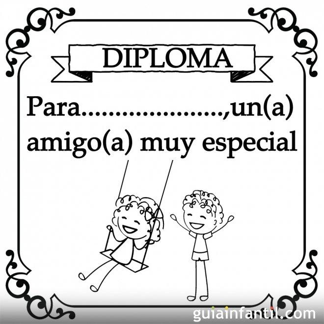 Diploma para colorear a un amigo especial