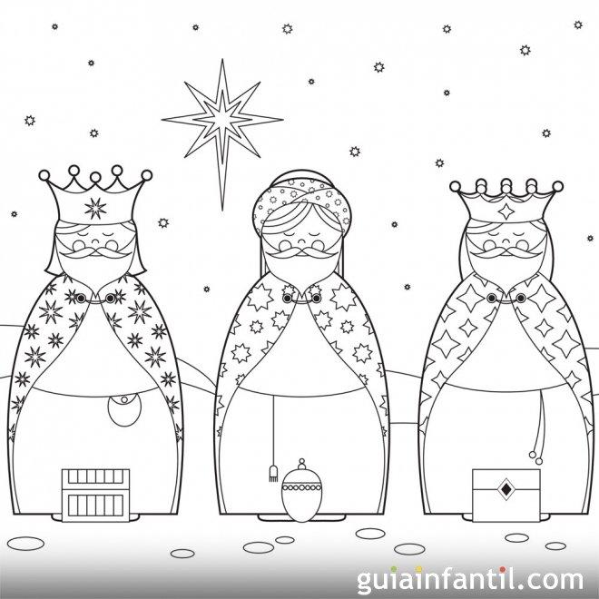 de los Reyes Magos para imprimir y pintar - Dibujos para colorear de
