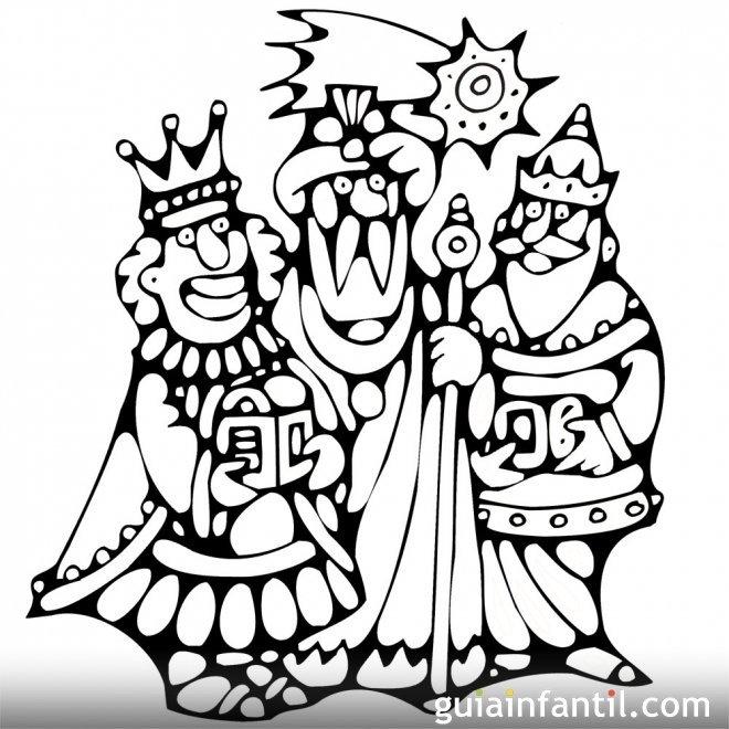 Dibujo para colorear de los Reyes Magos de Oriente