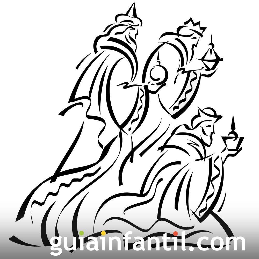 Dibujo de los Reyes Magos en el portal de Belén - Dibujos ...