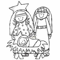 Portal de Belén. Dibujo navideño para pintar