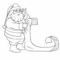 Dibujo de Santa Claus con la lista de regalos