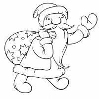 Dibujo de Santa Claus con los regalos de Navidad