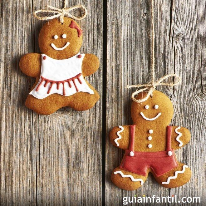 Hombes de galleta de jengibre decorados para Navidad