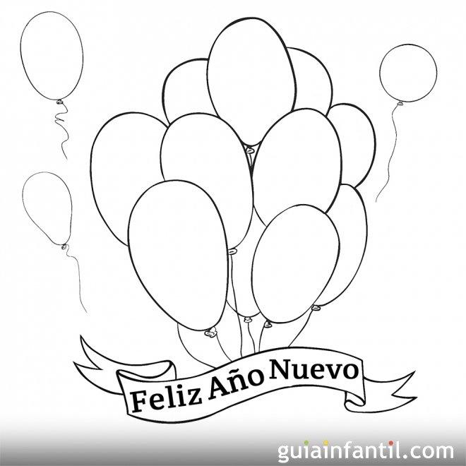 Dibujo de globos para dar la bienvenida al año nuevo - 10 ...