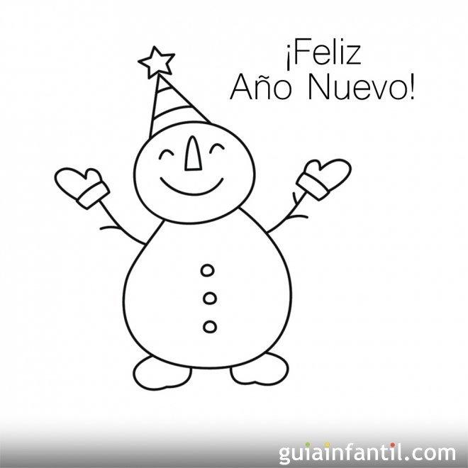 Dibujo de muñeco de nieve para recibir el año nuevo ...