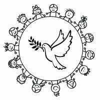 Dibujo de un corro de niños alrededor de una paloma