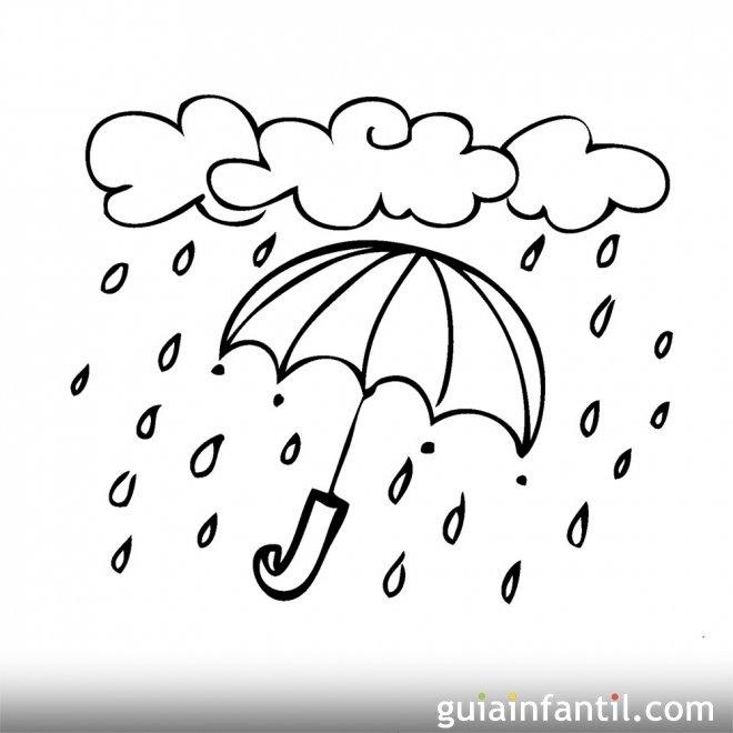 Dibujo para colorear de la lluvia en otoño - Otoño ...