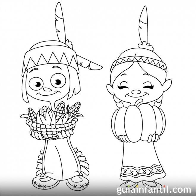 Dibujo de indígenas con ofrendas para colonos