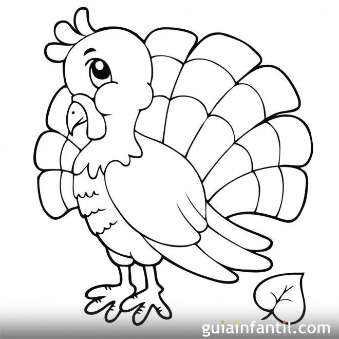 Dibujo de un simpático pavo
