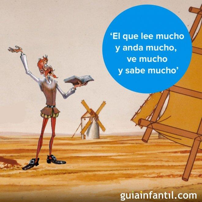 Don Quijote y la lectura. Frases del caballero andante para niños