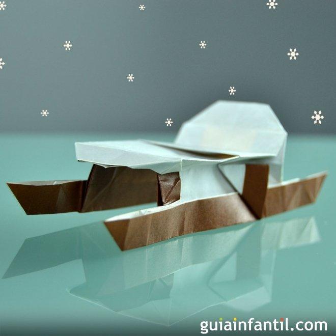 Trineo navideño en origami