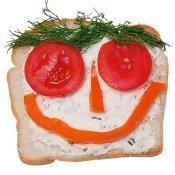 Sándwich simpático con grandes ojos