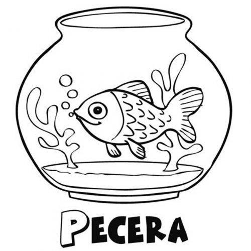 Dibujo para pintar de un pez en su pecera - Dibujos para colorear ...