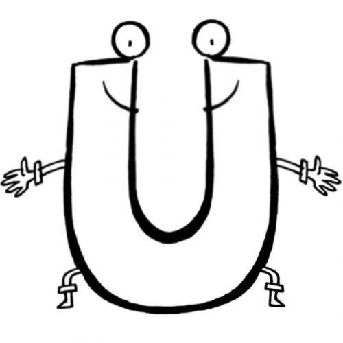 Dibujo para pintar de la letra U
