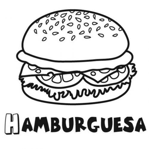 Dibujo para colorear de una hamburguesa - Dibujos para colorear de ...