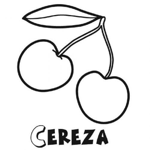 Dibujo de cerezas para pintar - Dibujos para colorear de frutas