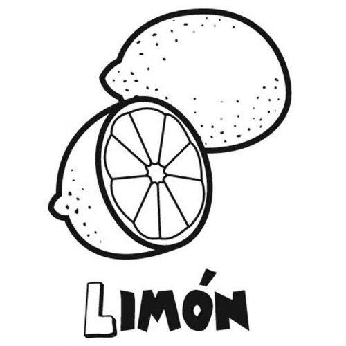 Dibujo para colorear de un limón - Dibujos para colorear de frutas