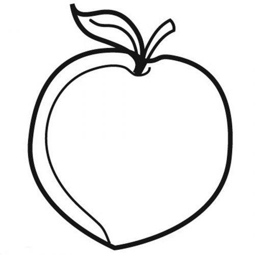 Dibujo para pintar de un melocotón - Dibujos para colorear de frutas