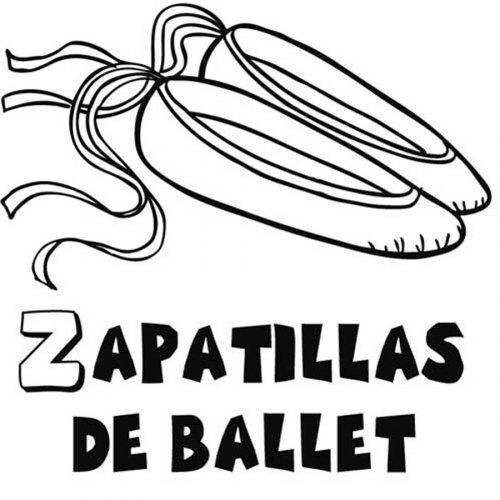 Dibujo para colorear de zapatillas de ballet