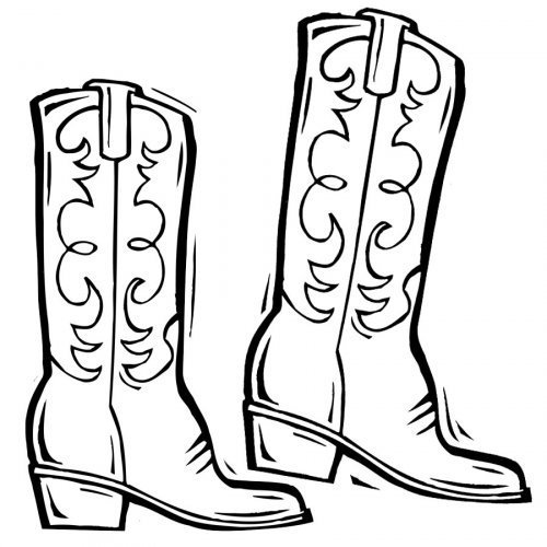Dibujo de botas para imprimir y colorear