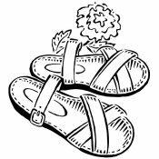 Dibujo de sandalias para imprimir y pintar