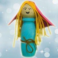 Figura de Virgen María. Manualidad de Belén reciclado para Navidad