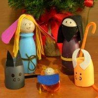 Manualidad de Belén navideño de reciclaje para niños