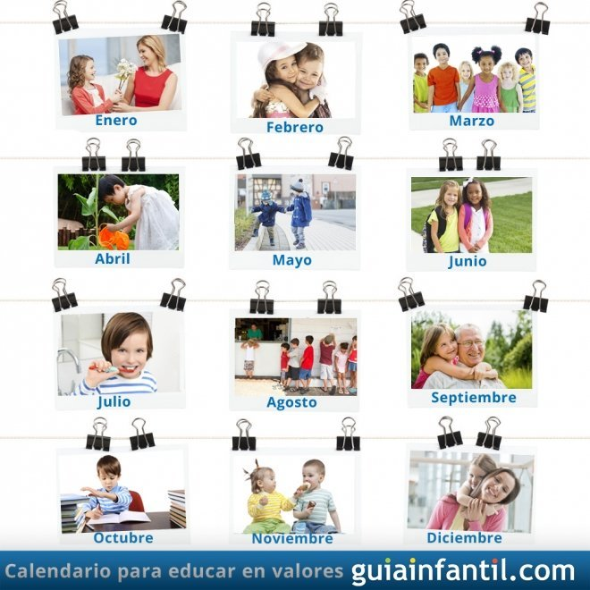 Calendario para educar en valores a los niños