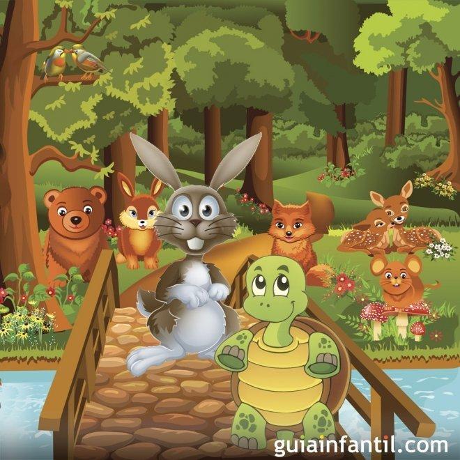 La liebre y la tortuga. Fábulas ilustradas para niños
