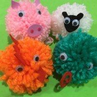 Pompones de animales. Manualidades con lana