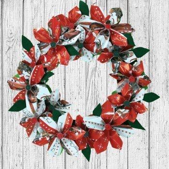 Corona de Navidad con papel. Manualidades de origami