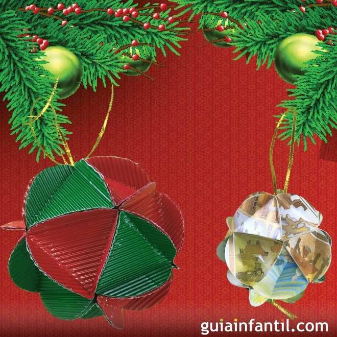 Bolas de navidad de cart n manualidades de reciclaje - Manualidades con bolas de navidad ...