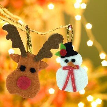 Adornos de fieltro para el árbol de Navidad. Manualidades fáciles