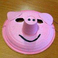 Máscara de cerdito con plato de papel. Manualidades de Carnaval