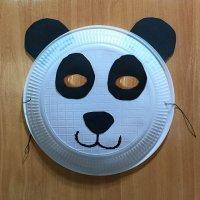 Máscara de Oso Panda con plato de papel. Manualidades de Carnaval