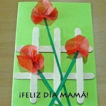 Tarjeta de amapolas. Manualidades del Día de la Madre